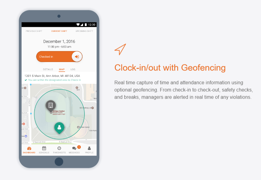 clocking in and out with geofencing interface