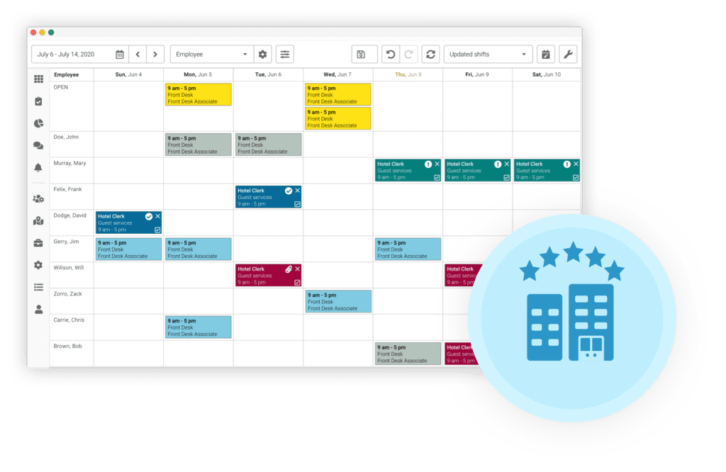 Celayix scheduling user interface for hospitality