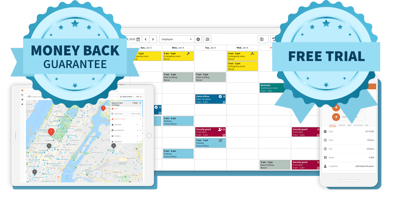 Celayix desktop, tablet, and mobile staff scheduling images